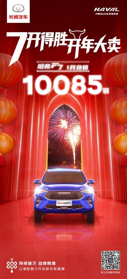 牛7冲天开门红  哈弗F7月销持续破万  1月销量达10085辆